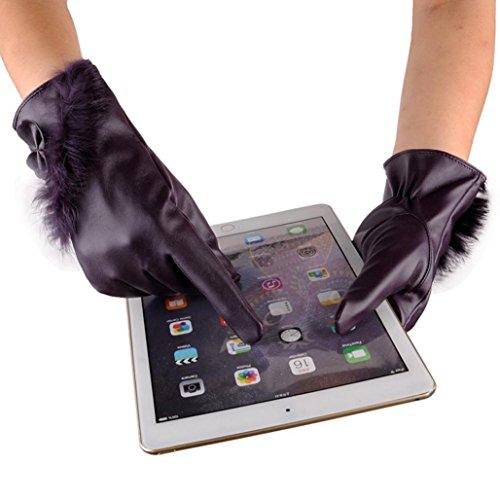 Warm Driving Gloves,Hemlock Women's Winter PU Leather Gloves Phone Screen Touch Gloves Mittens (Purple)