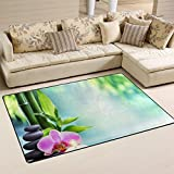 WellLee Area Rug,Spa Life Candle Stone Bamboo Floor Rug Non-slip Doormat for Living Dining Dorm Room Bedroom Decor 31x20 Inch