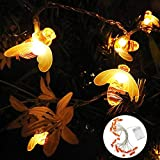 Aolvo Honeybee Fairy String Lights Battery Powered Waterproof Outdoor Xmas Decoration String Lights for Patio,Yard,Garden,Party,Date and Wedding (Warm White)