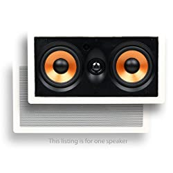 "Micca M-cs Center Channel In-wall Speaker With Dual 5.25 Inch Woofers & Pivoting 1"" Silk Dome Tweeter (Each, White)"
