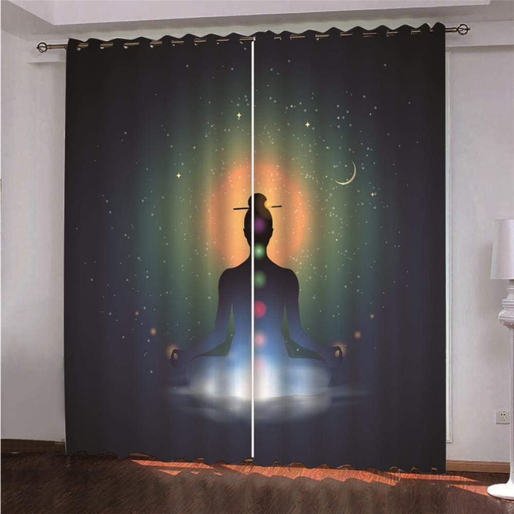 HJKGSX Blackout Curtains Thermal Insulated Window Treatment Solid Eyelet Darkening Curtain for Living Room Bedroom Nursery Star Buddha 59x65 inch