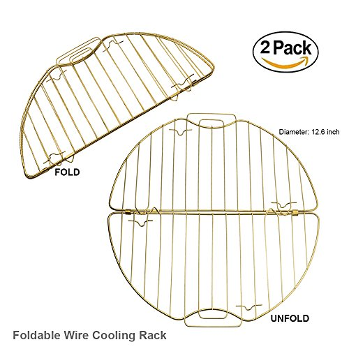 Do4U Round Fodable 430 Stainless Steel + Gold-plated Cooling Rack, Baking Rack with Legs, Heat Resisting 392 ℉, Dishwasher Washable, Export Quality German Supermarket(2 Pack - Golden) by Do4U
