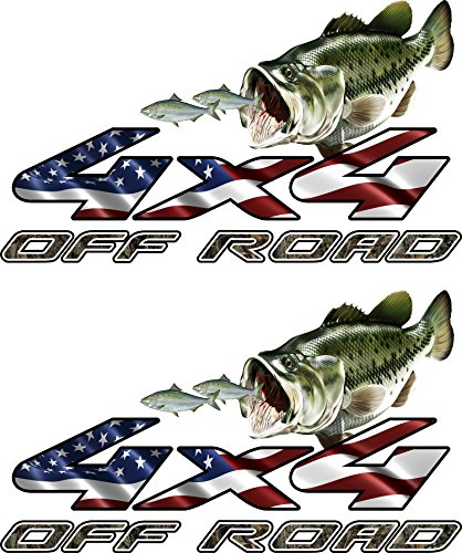4x4 Truck Offroad Decal Cast Vinyl Camo American Flag Bass Chasing Shad Ford, Chevy, Dodge Laminated 15.5x9 Inches (Chevy Truck Camo Decals compare prices)