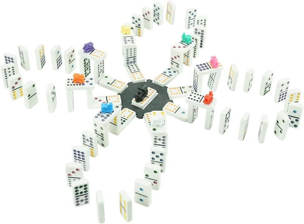 LEQU Paly Dominoes Set Colored Dot Twelve Dominoes Set Well Painted with Leather Box for Kids and Families 91 Tiles Mexican Train Dominoes Set Double 12