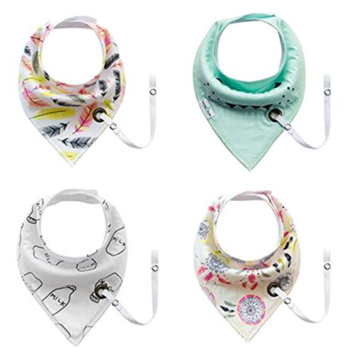 Baby Drool Bandana Bibs Organic Cotton Gift Set for Girl and Boy Drooling and Teething with Pacifier Clip