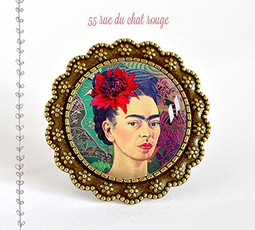 grande Anello Cabochon 25 mm Cabochon Frida Khalo, ritratto donna, Messico, Colorato