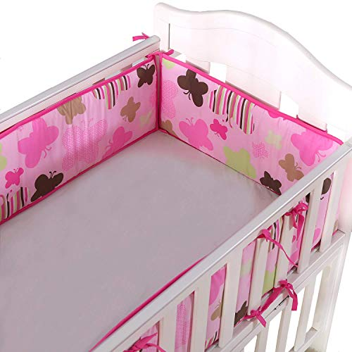 Amomo Crib Bumpers Breathable Baby Bumper Pads 4 Piece for Baby Girl Boy (Pink-Butterfly) ()