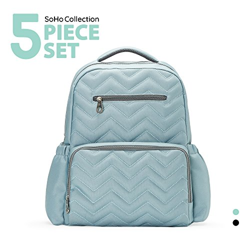 SoHo diaper bag backpack Blake Chevron 5 pieces nappy tote b