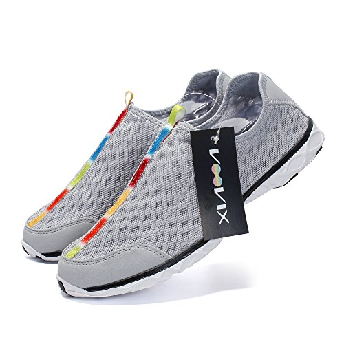 VOOVIX Männer Wasser Schuhe Leichte Quick Dry Rutschfeste Atmungsaktive Athletische Aqua Turnschuhe Grey02