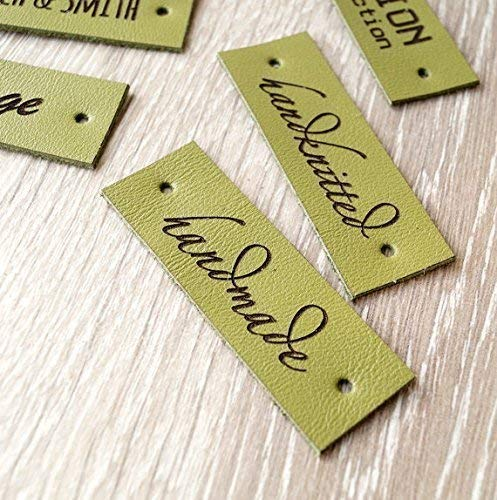 (Custom logo labels, leather knitting labels, labels, personalized garment tags, logo branding labels, crochet leather labels, set of 25)