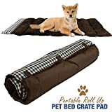 "Portable Dog Bed Roll Up Pet Mat Crate Pad - Travel, Camping, Carrier Cushion - 36"" x 23"" Brown Plaid"