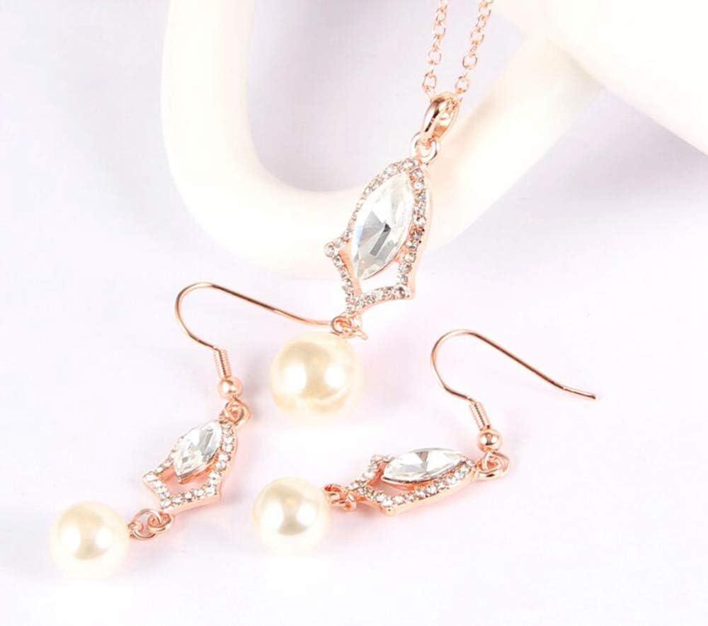 MYYQ Stylish Elegant Pearl Necklace Earring Set Decorations Women Necklace Pendant