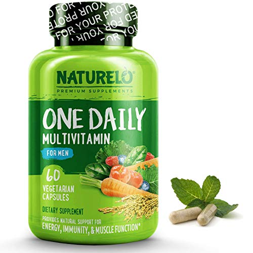 NATURELO One Daily Multivitamin for Men - with Whole Food Vitamins - Organic Extracts - Natural Supplement - Best for Energy, General Health - Non-GMO - 60 Capsules | 2 Month Supply - Folic Acid B-50 250 Capsules