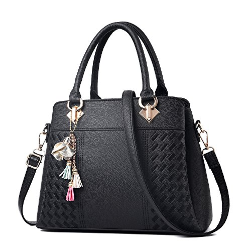 Black Satchel Handbag - 5