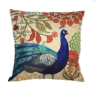 Monkeysell Peacock Pattern Vintage Cotton Linen Square Throw Pillow Case Decorative Cushion Cover Pillowcase Cushion Case for Sofa,Bed,Chair18 X 18 Inch (S018A5)