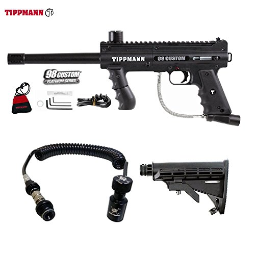 Tippmann 98 Custom Platinum Series Paintball Gun + Remote Coil w/ Slidecheck & Stock Combo Package - Black