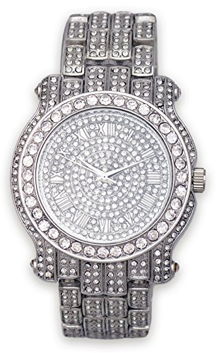 Mens Iced Out Watch (Silver) - Men Fake Rolex Watches