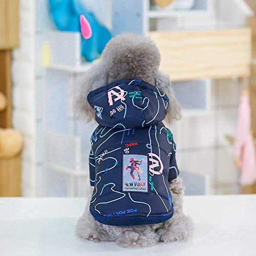 Navy bluee M Navy bluee M HSDDA Party Pet Costume Pet Supplies Misc Pet clothes autumn and winter new letters two-legged cotton hooded dog clothes hot dog clothes cotton non-vest (color   Navy bluee, Size   M) Pet Uniform