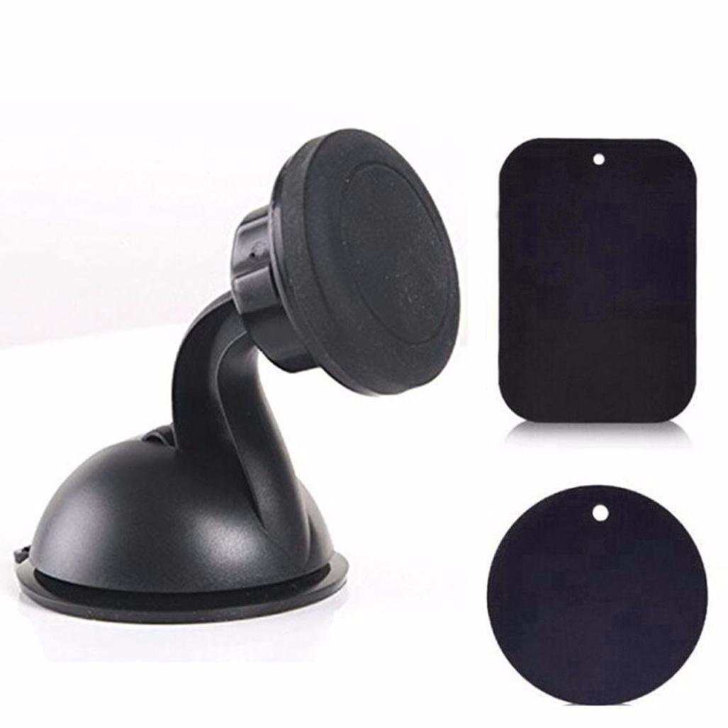 Hometom Universal 360° Car Auto Mount Ball Sticky Magnetic Stand Holder for Cell Phone GPS (Black)