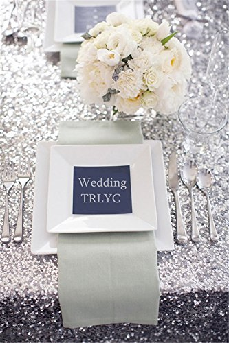 """51J7Gt7Ce7L - 156"""" Round Sparkly silver Sequin Table Cloth Sequin Table Cloth,Cake Sequin Tablecloths, Sequin Linens for Wedding"""