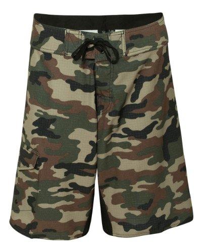 (Burnside Mens Camo-Diamond Dobby Board Shorts-B9371-40-Green Camo)