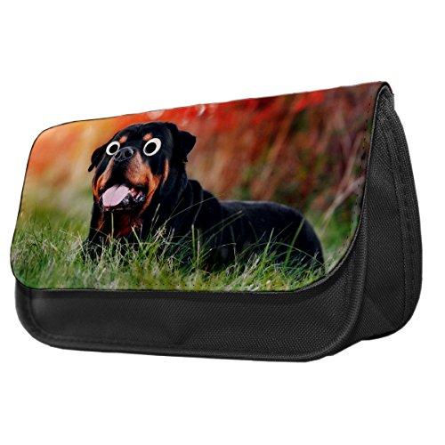Rottweiler Hund Googley Augen Tier Bleistift Fall/Make-up Tasche 258