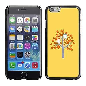 FECELL CITY // Duro Aluminio Pegatina PC Caso decorativo Funda Carcasa de Protección para Apple Iphone 6 // Yellow Tree Autumn Birds