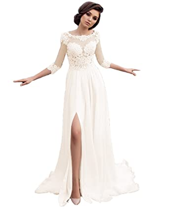 QiJunGe 2018 Beach Wedding Dresses See Through Lace Bride Dress With ...