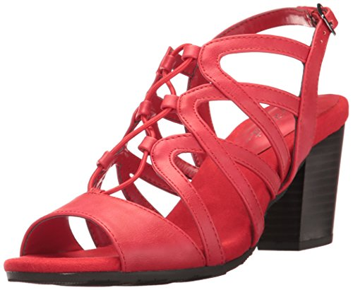 Easy Street Womens Admire Dress Sandal Red Burnish