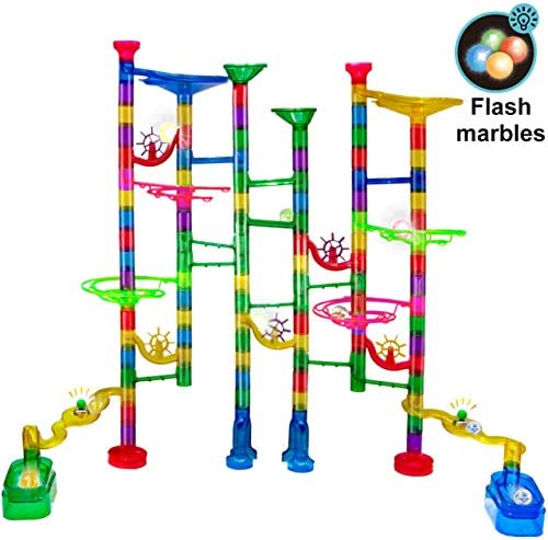 Gifts2U Marble Run Toy Set129 PCS Marble Race Track Game 95 Marbulous Pieces + 30 Glass Marbles + 4 Led Lighted Marbles STEM Educational Marble Maze Building Blocks Toys for Kids 4+ Year Old