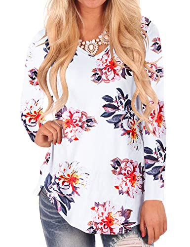 Plus Size Tops for Women Flower Print Long Sleeves Fall Tshirt Blouses White - Jeans Size Junior Plus