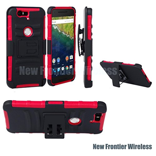 For HUAWEI Y538 Rugged Armor Hybrid Kickstand Case w Hostel Belt Clip (SCB RED)