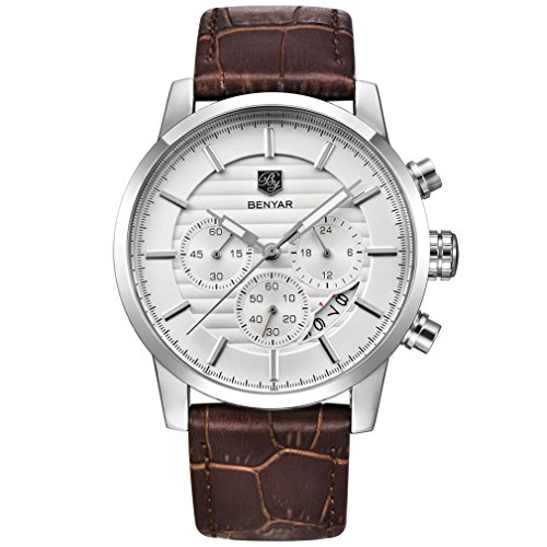 (BENYAR Chronograph Waterproof Watches Business and Sport Design Brown Leather Band Strap Wrist Watch for Men (L Silver White B))