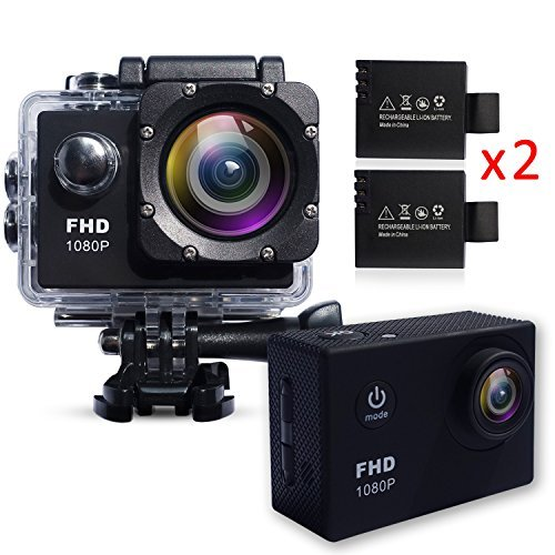 Action Camera Waterproof 30m Sport Camera Full HD 1080P 2.0 Inch LCD Display 120 Degree Wide Angle Lens Sport Recorder Car Camera with Outdoor Accessories Gofuturetech.Co.,Ltd