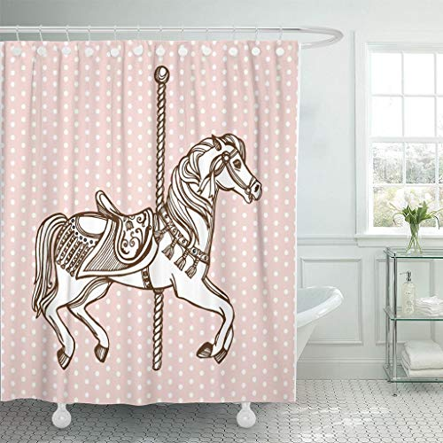 Emvency Fabric Shower Curtain with Hooks Colorful Carnival Hand Drawn Carousel Horse Polka Dot Vintage Circus Park Retro Animal 60