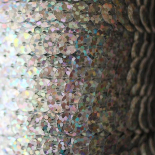 6mm FLAT SEQUIN TRIM strung by the yard ~ SILVER HOLOGRAM LASER ~ Made in USA ~ Flat, stitched sequin string for embroidery, applique, arts, crafts, bridal wear, embellishment. 15 feet per pack.