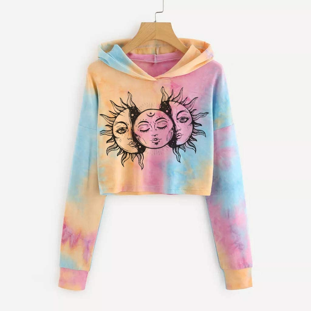 Round Neck Long Sleeve Sweatshirts Tie-Dye Printed Crop Tops Casual Loose Pullover Blouse F/_topbu Hoodies for Women