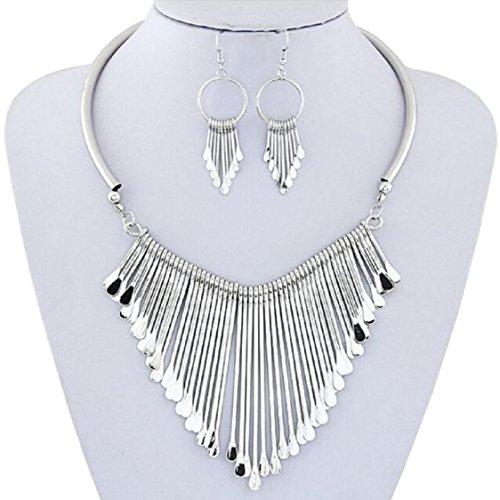 [해외]Ikevan 뜨거운 판매 목걸이 새로운 럭셔리 여자 금속 Tassels 펜던트 체인 턱 받이 목걸이 귀걸이 쥬얼리 세트/Ikevan Hot Selling Necklace New Luxury Womens Metal Ta
