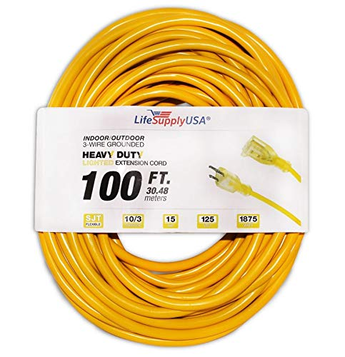 10/3 100ft SJTW Lighted End Extension Cord, 15 Amp, 125 Volt, 1875 Watt, Super Heavy Duty Outdoor Jacket (100 feet) by LifeSupplyUSA (Types Of Weather Instruments And Their Uses)