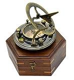 Antique Sundial Sun Dial Compass Replica Sun Clock Marine Sundial Pirate Sundial - Sundial in Hexagonal Wood Box