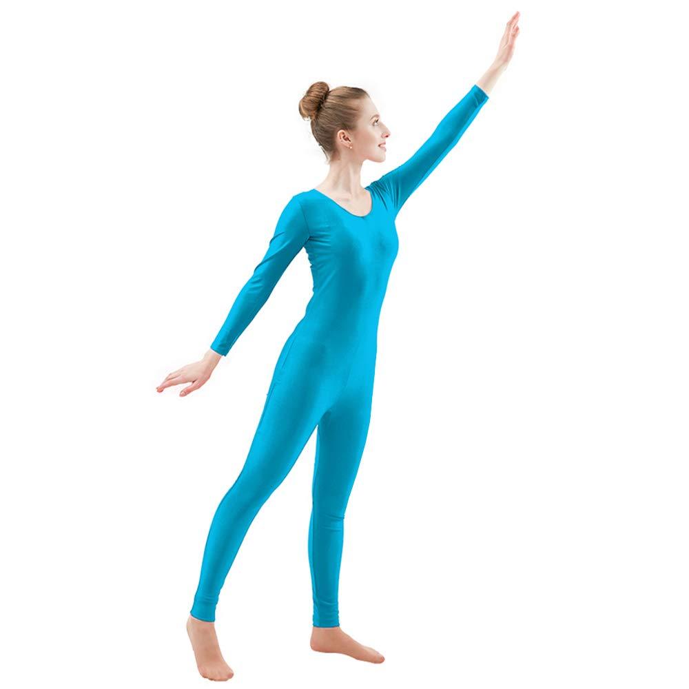 Ensnovo Womens Spandex Bodysuit Long Sleeve Scoop Neckline Footless Unitard