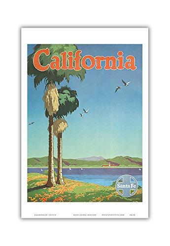 California - Santa Fe Railroad - Vintage Railroad Travel Poster by Oscar M. Bryn c.1950s - Master Art Print - 12in x 18in ()