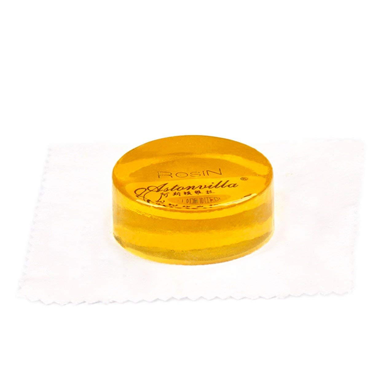 Qewmsg 1PC Yellow Rosin for Violin Viola Cello Bow Strings Round Shape Wooden Case