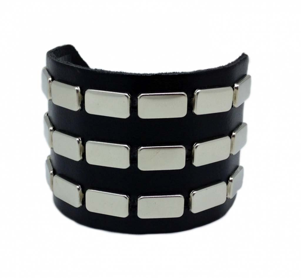 Leather Wristband 3 Rows Flat Studs