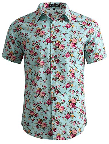 uxcell Men Casual Cotton Slim Fit Floral Print Short Sleeve Button Down Shirt Mint S US 34 (Arizona Iced Tea Going Out Of Business)