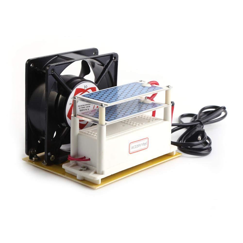 110V/220V 10g/h Generador de Ozono,Purificadores de Aire con Ozono Ventilador Ozono de Placa de Cerámica Doble con Ventilador para Secadora,Lavavajillas,Refrigerador,Purificador de Aire(EU)
