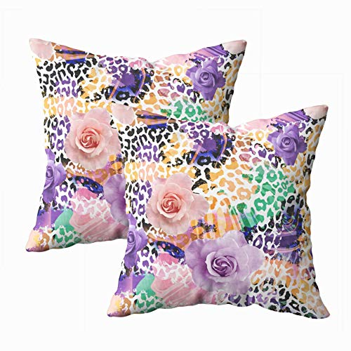 - Musesh 18x18 Pillow Cases, Pack of 2 Leopard and Flowers Textile Pattern Fills Covers Surface Print Gift Wrap Scrapbooking Wallpaper for Sofa Home Decorative Pillowcase Throw Pillow Covers
