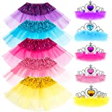 Princess Dress up Accessories 10 Pieces Girl Gift Set Crown Dress Tiara Belle Elsa Party Favors Costume for Girls