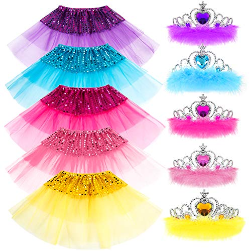 (Princess Dress up Accessories 10 Pieces Girl Gift Set Crown Dress Tiara Belle Elsa Party Favors Costume for Girls)