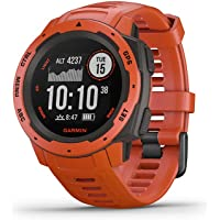 Garmin 010-02064-02 Instinct, Rugged Outdoor Watch with GPS, GLONASS and Galileo, Heart Rate Monitoring and 3-axis Compass (Flame Red)